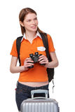 Teen girl looking through binoculars Royalty Free Stock Photography
