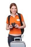 Teen girl looking through binoculars Royalty Free Stock Photography
