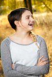 Teen Girl Looks Surprised. A teen girl looks to the side with a surprised expression Royalty Free Stock Photos