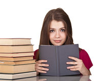Teen girl with lot of books a Royalty Free Stock Image