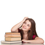 Teen girl with lot of books Stock Photography