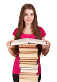 Teen girl with lot of books Royalty Free Stock Photo