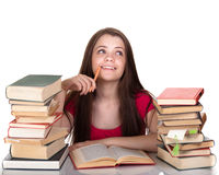 Teen girl with lot of books Stock Image