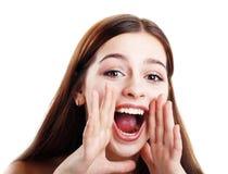 Teen girl loud screaming Stock Image