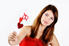 Teen girl in love. Loving teen girl with hearts stock images