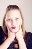 Teen girl making cute faces Royalty Free Stock Photo