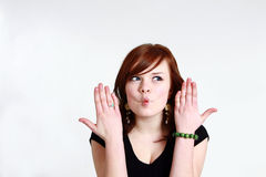 Teen girl making a fish face Royalty Free Stock Photos