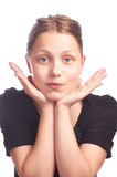 Teen girl making funny faces on white background Royalty Free Stock Photography