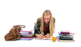 Teen girl making homework for school Stock Photo