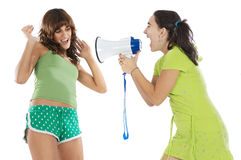 Teen girl with megaphone Royalty Free Stock Photos