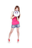 Teen girl with megaphone Stock Photography