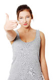 Teen girl with middle finger up Stock Photo