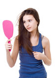 Teen girl with a mirror Royalty Free Stock Image