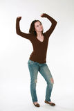 Teen girl model dancing Stock Photo