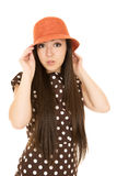 Teen girl model wearing a polka dot dress portrait Royalty Free Stock Images