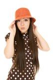 Teen girl model wearing a polka dot dress portrait Royalty Free Stock Images
