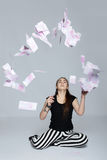 Teen girl and money Stock Photo