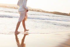 Teen Girl on Morning Beach. Mediterranean Sea Stock Image