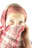 Teen girl muffled in a shawl Royalty Free Stock Photos