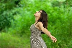 Teen girl in nature stock photography