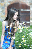 Teen girl near the daisies Stock Photography