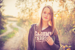 Teen girl near road Royalty Free Stock Images