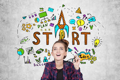Teen girl near at startup sketch Stock Image