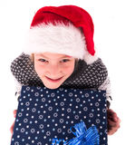 Teen girl with a New Year box Royalty Free Stock Images