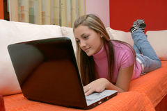 Teen girl and notebook Stock Images