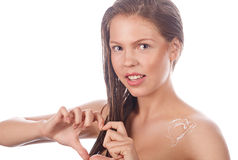 Teen girl with nude makeup shows heart. Royalty Free Stock Photos