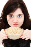 Teen Girl with Oatmeal royalty free stock image