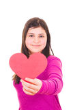 Teen girl offering a valentine Royalty Free Stock Images