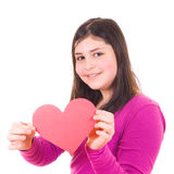 Teen girl offering a valentine Stock Photo