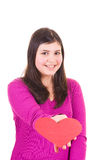Teen girl offering a valentine Royalty Free Stock Photo