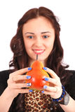 Teen girl Offering Viewer an Pear Royalty Free Stock Photo