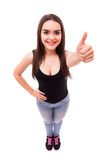 Teen girl with okey gesture. From above on white Royalty Free Stock Photography