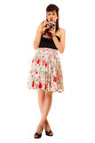 Teen girl with old camera Royalty Free Stock Photo