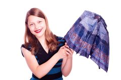 Teen girl opening umbrella Royalty Free Stock Photography