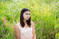 Teen girl outdoors in summer. Portrait of a teen girl outdoors in summer Stock Photo