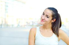Teen girl outside in city Stock Photo