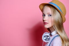 Teen girl over pink stock images