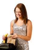 Teen girl packing healthy lunch for school Stock Images