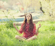 Teen girl in the park. Royalty Free Stock Photo