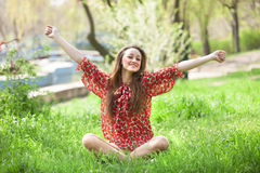Teen girl in the park. Stock Images