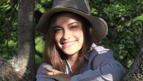 Teen Girl In Park On Summer Day stock footage