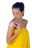 Teen girl with patch on the shoulder Royalty Free Stock Image