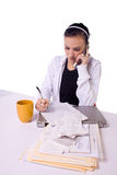 Teen Girl Paying Bills and Making a To Do List Royalty Free Stock Photos