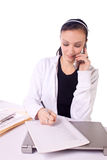 Teen Girl Paying Bills and Making a To Do List Royalty Free Stock Photography