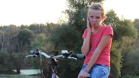 Teen girl on phone stock footage