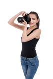Teen girl with photo camera Royalty Free Stock Photos